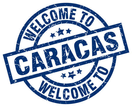 welcome to Caracas blue stamp