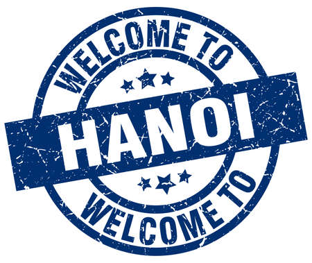 welcome to Hanoi blue stamp