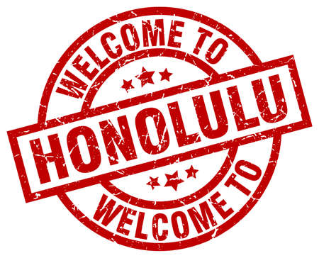 welcome to Honolulu red stamp