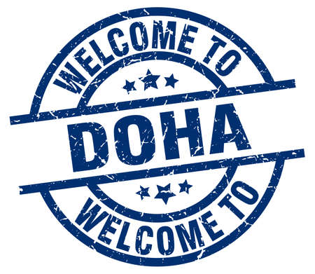 welcome to Doha blue stamp