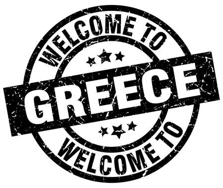 welcome to Greece black stamp Illustration