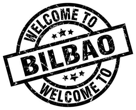 welcome to Bilbao black stamp Illustration