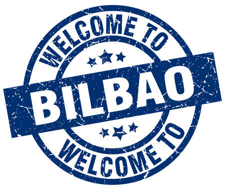 welcome to Bilbao blue stamp Illustration