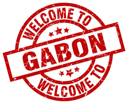 welcome to Gabon red stamp Illustration