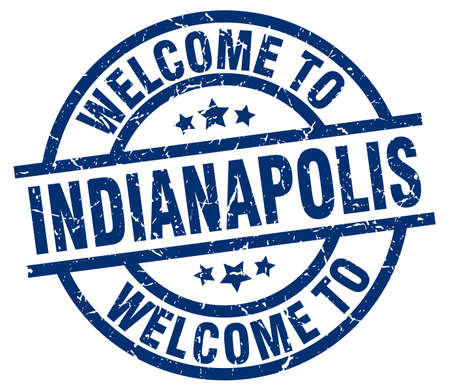 indianapolis: welcome to Indianapolis blue stamp Illustration