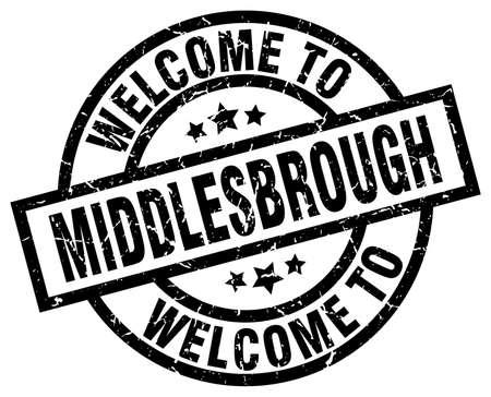 welcome to Middlesbrough black stamp Illustration
