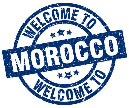 welcome to Morocco blue stamp