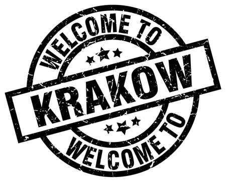 Bienvenue au cachet noir de Cracovie Banque d'images - 81130707