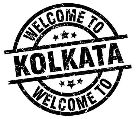 welcome to Kolkata black stamp Illustration