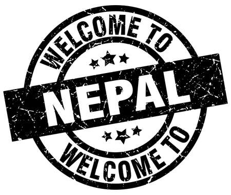 welcome to Nepal black stamp
