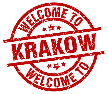 welcome to Krakow red stamp