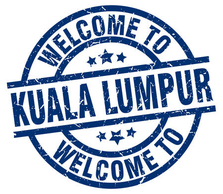 welcome to Kuala Lumpur blue stamp Illustration