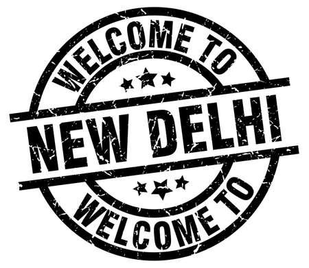 welcome to New Delhi black stamp Illustration