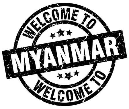 welcome to Myanmar black stamp Illustration