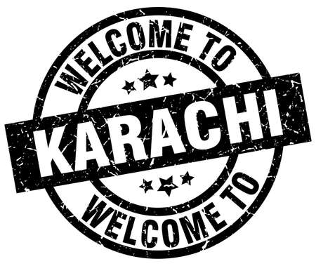 welcome to Karachi black stamp Illustration