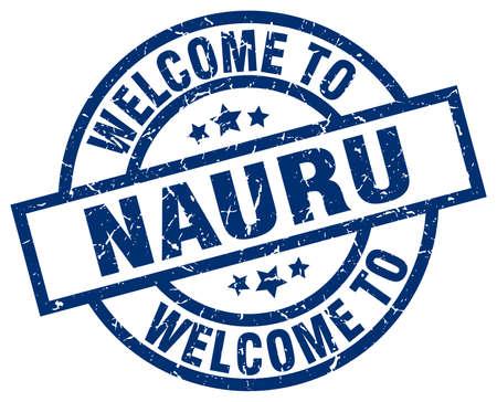 nauru: welcome to Nauru blue stamp Illustration