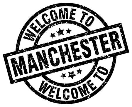Welcome to Manchester black stamp. Illustration