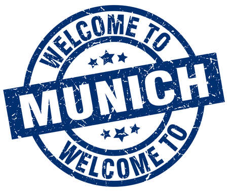 Welcome to Munich blue stamp. Illustration