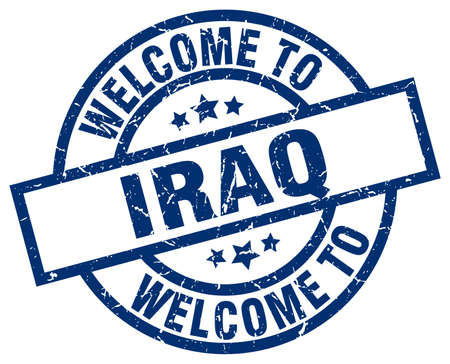 welcome to Iraq blue stamp Illustration