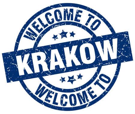 Bienvenue au timbre bleu Cracovie Banque d'images - 81140483