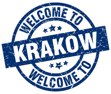 welcome to Krakow blue stamp