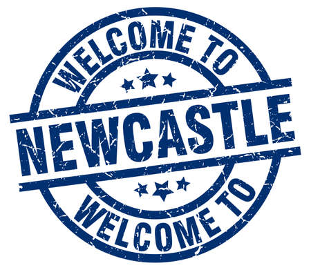 welcome to Newcastle blue stamp Illustration