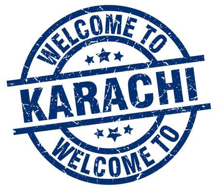 welcome to Karachi blue stamp Illustration