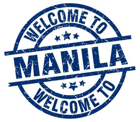 welkom in de blauwe stempel van Manila Stock Illustratie
