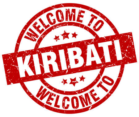welcome to Kiribati red stamp