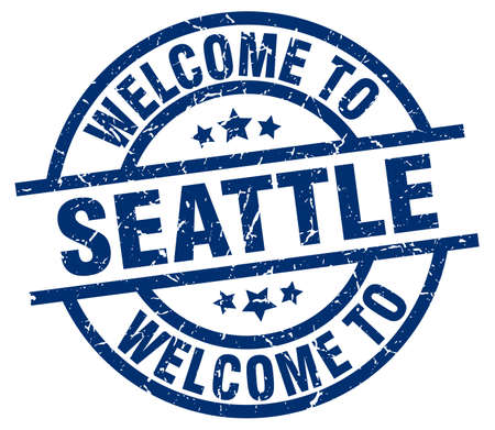 Welcome to Seattle blue stamp. Illustration