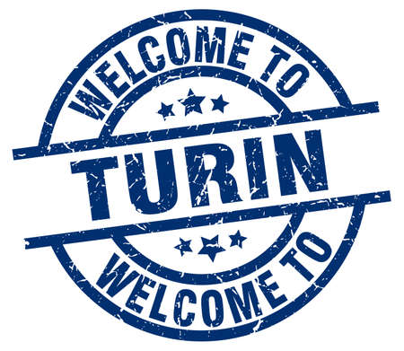Welcome to Turin blue stamp. Illustration