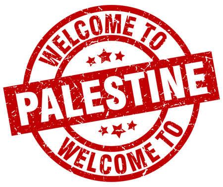 パレスチナ赤スタンプへようこそ。  イラスト・ベクター素材