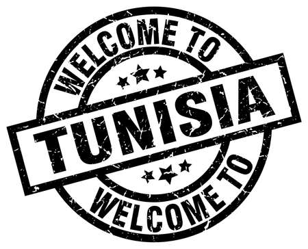 welcome to Tunisia black stamp Illustration