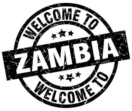 welcome to Zambia black stamp