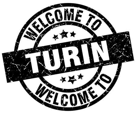 welcome to Turin black stamp Illustration