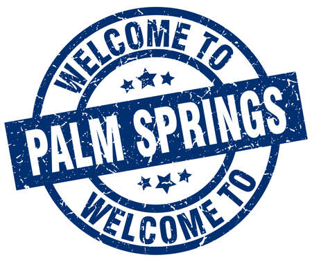welcome to Palm Springs blue stamp