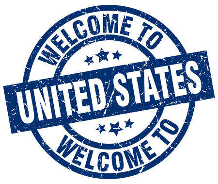 welcome to United States blue stamp Illustration