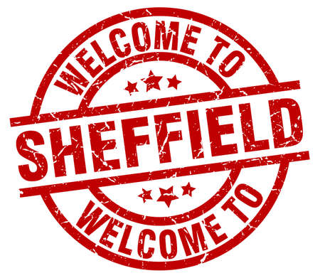 welcome to Sheffield red stamp Illustration