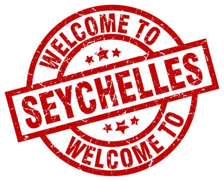 welkom bij de rode zegel van Seychellen Stock Illustratie
