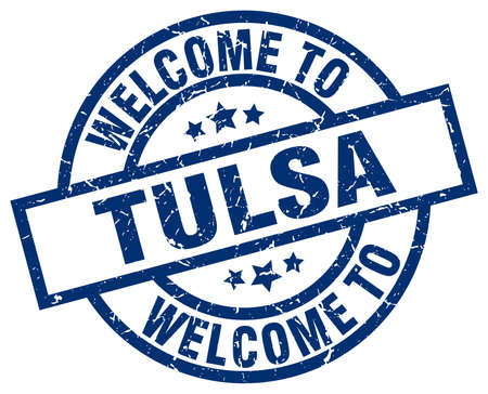 welcome to Tulsa blue stamp