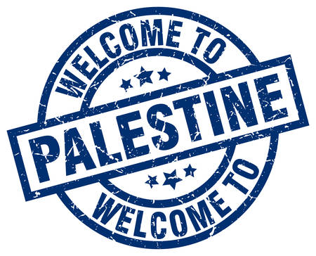 welcome to Palestine blue stamp