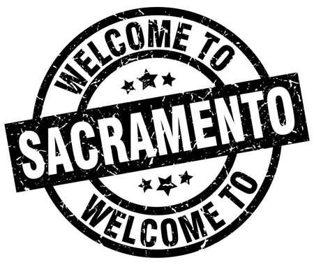 welcome to Sacramento black stamp Illustration
