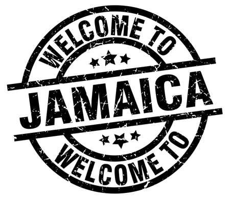 Welcome to Jamaica black stamp. Ilustracja