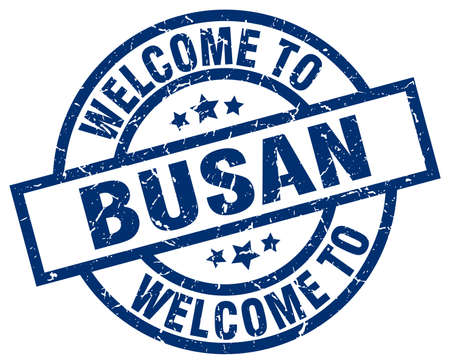 Welcome to Busan blue stamp. Illustration
