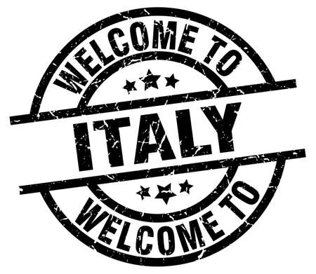 welcome to Italy black stamp