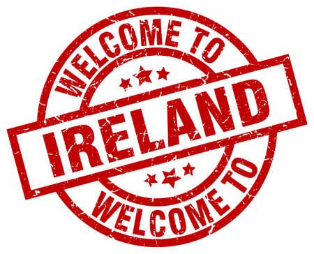 아일랜드에 오신 것을 환영합니다. 빨간색 도장