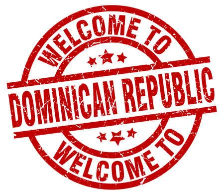 Welkom in de rode stempel van Dominicaanse Republiek Stock Illustratie