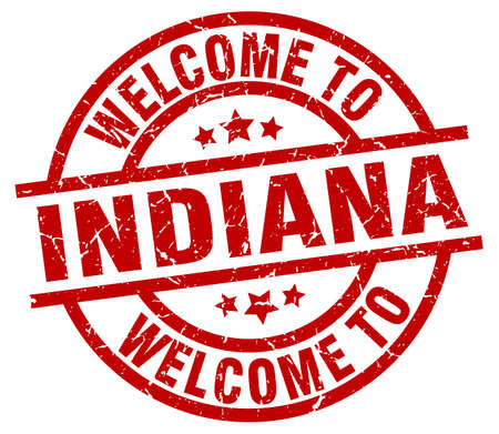 welcome to Indiana red stamp
