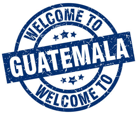 welcome to Guatemala blue stamp Illustration