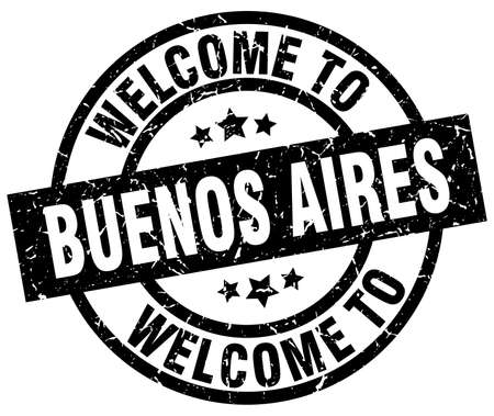 aires: Welcome to Buenos Aires black stamp. Illustration